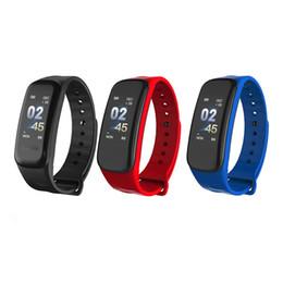 banda de empuje Rebajas C1 Smart Band Fitness Tracker Sport Monitor Smart Pulsera IP67 Impermeable Sedentaria recordar pulseras 6 colores