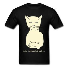 cat. stile di strada Sconti Mi aspettavo una migliore maglietta degli uomini T shirt Grumpy Cat Divertente Vestiti per adulti 100% cotone Tshirt Hip Hop Top Tees Street Style Nero