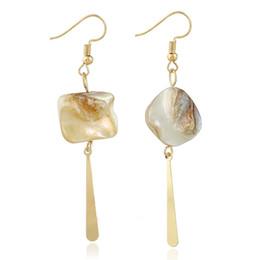 Wholesale Vintage Geometric Earrings - Irregular Natural Shell Drop Earrings For Women Jewelry Gift Oyster Fashion Vintage Elegant Luxury Geometric Copper Dangle Earrings Female