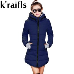 Wholesale Womens Yellow Winter Coat - Wholesale- k'raifls Womens Winter Jackets Navy and Black New Long Down Cotton Parka Female Jacket Coat Plus Size Slim Casual Outwear 2017