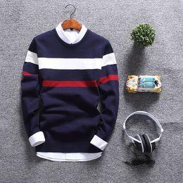 Moda homens slim sweater fit on-line-Nova Moda Outono Camisola Homens Gola Redonda Pullover Macio Homens Slim Fit Mens Blusas Casual Masculino Camisola de Natal MY1803