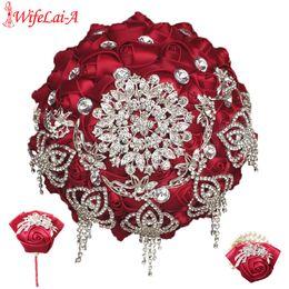 Свадебные букеты онлайн-Вино красный свадебный букет с бриллиантами запястье цветок и бутоньерка свадебный букет невесты набор можно заказать в другом цвете