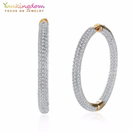 Wholesale pave hoops - Pave White Cubic Zirconia Crystals Big Circle Hoop Earrings for Women Fashion Party Queen Jewelry