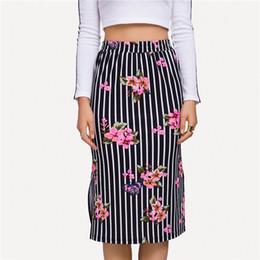 9d30ef75fa New Autumn Women Long Skirt Floral Print Striped Pencil Skirt High Waist  Split Casual Elegant Lady Plus Size 5XL Talever