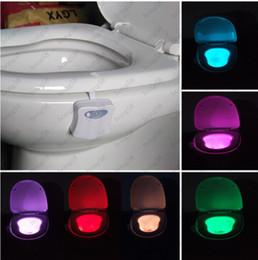 Wholesale Bathroom Light Sensors - 2018 hot Toilet Led Light Smart Induction Motion Sensor Night Light Bathroom LED Lights 8 Colors Change LED Bowl