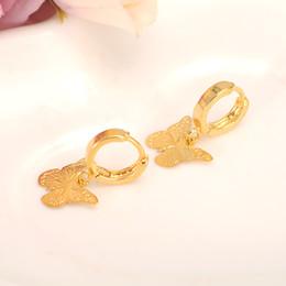 skytalenbao Marque 18k Solide Fine Or jaune GF De Luxe Papillon Charme Boucle D'oreille De Mode Or Femmes Fille Bijoux Cadeau joli ? partir de fabricateur