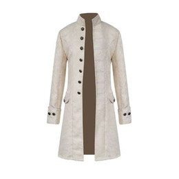 Chaqueta militar larga para hombre. online-Hombres Steampunk Militar Vintage Coat Stand Collar Single Breasted Chaquetas Sólidas Hombre Manga Larga Slim Clothes Long Trench 8J0602
