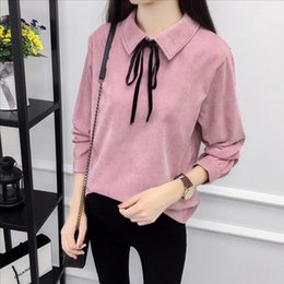 Wholesale Women S Corduroy Shirts - Autumn Long Sleeve Women Shirt Preppy Style Bow Woman Shirt Corduroy Plus Thick Solid Color Women Blouses Turn-Down Collar Top