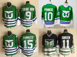 Wholesale howe jersey - Hartford Whalers Jersey 9 Gordie Howe 15 Dave Tippett 10 Ron Francis 11 Kevin Dineen Green 100% Stitched 1990 Throwback Hockey Jerseys