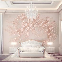 2019 projetos de fundo de tv Personalizado 3D papel de parede Luxo Fotomural Rose flor de ouro Foto papel de parede TV Fundo Quarto Hotel Modern Room Decor design de Interiores projetos de fundo de tv barato