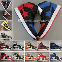 Wholesale Mens Shoes - Cheap 1 top 3 Banned Bred Red Chicago OG Royal Mid hare mens basketball shoes sneakers Shattered Backboard sports designer trainers shoes