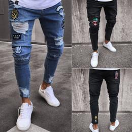 ausgefranste jeansmänner Rabatt Mens Skinny Jeans Rip Slim Fit Stretch Denim  Distress Ausgefranste Biker Jeans Boy