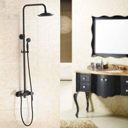 Wholesale Antique Brass Faucet Shower - Antique Shower Set Brass Black Shower Set With 8 Inch Head Double Lifting Bronze Water Rain With Accessories BA