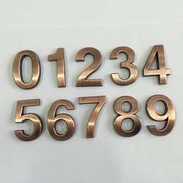 Wholesale House Signs Plaques - Wholesale- New 1PC 0-9 Plastic House Numbers 70*48*8mm Hotel Home Door ABS Plating Number Digits Sticker Plate Signs Address Plaque 2016