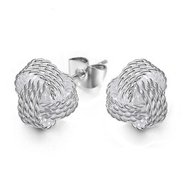Wholesale weave earrings - High Quality 925 Sterling Silver Weave Knot Ball Stud Earrings For Women Fashion Party Fine Jewelry