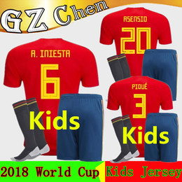 Wholesale Custom Soccer Shirts - kit Spain kids jersey 2018 World Cup Spain Soccer Jerseys boys home football kits uniform custom ISCO RAMOS MORATA child Soccer shirt Socks