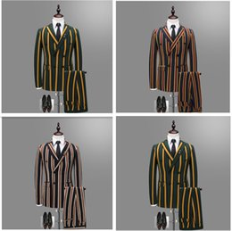 Discount korean dressing styles images - Double breasted tuxedos striped men suit Korean style night shop hairstylist, wedding dress groom wear best man three piece suit