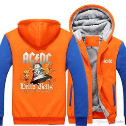 Wholesale Skull Bells - 2018 Design ACDC Bell Skull Mens Hoodies I Got My Bell Gonna Take Ya To Hell Thicken Zipper man hoodies sweatshirt USA -B