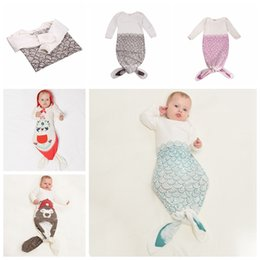 Wholesale Long Bedding - newborn Baby Sleep Bag Cartoon Mermaid Bear Cotton Baby Long Sleeve baby sleepsack sleeping Nursery Bedding