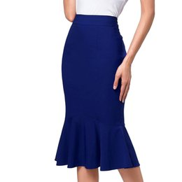 a39bce592fee Office Skirts Womens Bodycon Midi Skirt Elegant Ruffles Pencil Mermaid  Skirts Party Formal Occasion Jupe