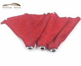 Wholesale manual covers - HB Red Suede OMP Gear Shift Knob Collars Boot Universal Manual Automatic Car Auto Gear Shift Knob Cover MT AT