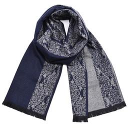 77f3e6bcc7 Style Chinois Bleu Et Blanc En Porcelaine Motif Écharpe Pour Les Hommes De  La Mode Coton Doux Hiver Chaud Épais Marque Foulards Avec Des Glands