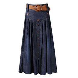 Большие кнопки пояса онлайн-Высокая талия длинные юбки женщины макси джинсы юбки с поясом плиссированные джинсовые юбки кнопка большой размер SML XL XXL 3XL 4XL 5XL 6XL 2018