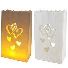 luce del fiore di carta Sconti 9x15x26 cm 10 pz / lotto Sacchetto di Candela di Carta Scava Fuori Intagliato Fiore Non Infiammabile Luce ignifuga carta Lanterna Per La Festa Nuziale diy Decor