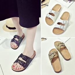 Wholesale Gold Bricks - Lady Cork Sequins Beach Sandles Women Sole Slippers Sexy Flat Flip Flops Outdoor Slipper Sandals Couple Vogue Cool Shoes Slipper