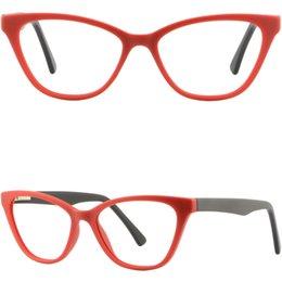 Canada Cadres en plastique d'acétate pour femmes rouges, charnières à ressort, lunettes de vue, lunettes Offre