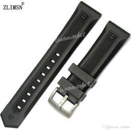 Proveedores de hebilla online-Reloj de caucho de silicona negro BAND ZLIMSN Hebilla profesional de alta calidad de la marca proveedor 22mm Hombres Correa de plata negro hebilla