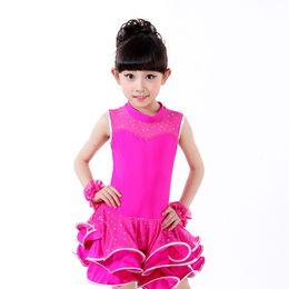 Wholesale gold latin dress - New Latin Dance Dress Girl Child Dancewear Sequin Tutu Latin Dance Dress Stage Ballet Vestido Baile Latino Girls