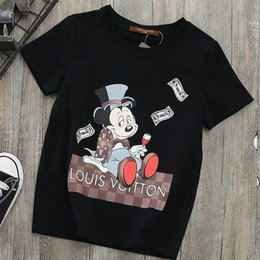 Wholesale Boys Designer Shirts - HOT Branded Children Carton Applique White Black Jersey T-shirt Designer Boy Cotton Round Neck Short Sleeves T-shirt Size110-150