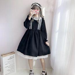 e1161fbd8d00 Japanese Harajuku Anime Cosplay Clothes Women's Gothic Lolita Kawaii Black  Lace Dress Girls Ruffle Halloween Party Pleated Dress