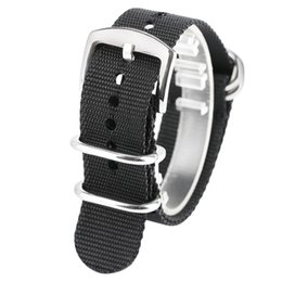 Wholesale Mens Nylon Watch Bands - 20mm 22mm 24mm Soft Black Watch Strap Silver Buckle Army Sport NATO Nylon Fabric Band Straps Strong Watchbands Bracelets for Mens