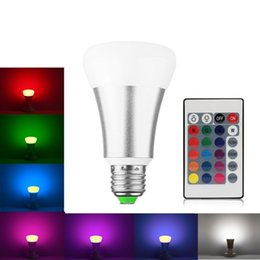 Wholesale e27 dimmable rgb remote - Dimmable E27 RGBW LED Bulb 10W 9W 85-265V E27 RGB LED Spotlight Light A60 Globe Bubble Ball bombillas+24 Key Remote Controller