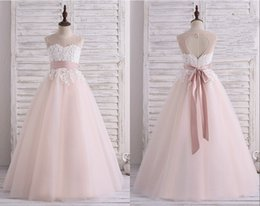 Wholesale Cute Cheap Bows - Cute Blush Designer Flower Girls Dresses 2018 Sheer Neck Lace Applique Keyhole Back Floor length First Communion Dress Cheap