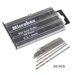 Conjunto de herramientas electrónicas online-20pcs micro broca helicoidal HSS pequeña Set 0.3mm-1.6mm modelo herramienta de reparación de precisión para la joyería reloj electrónico