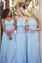 09517386b3b3 2018 Nuovo Maxi Style Abiti da damigella d onore Lunghezza del pavimento  Chiffon azzurro Cielo Maid Of Honor Wedding Guest Gown Custom Made per  Beach Garden