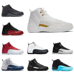Wholesale online french - 2018 new mens basketball shoes 12 wool mens sneaker Black Nylon discount shoes flu game french blue sports shoes sale online