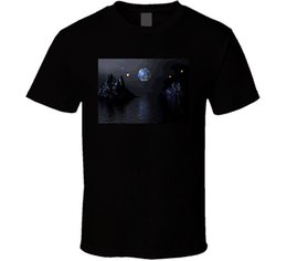 Cool Art Pictures Moon Water diseño gráfico camiseta para hombre 2018 marca de moda camiseta O-cuello 100% algodón camiseta desde fabricantes