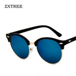 b75a345dcf ZXTREE Retro Sunglasses Women Men Classic Brand Designer Unisex Round Sun  Glasses Half Frame Rivet Color Film Oculos UV400 Z335