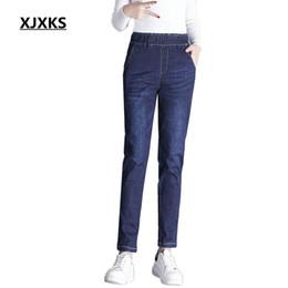 Wholesale Plus Size Pants For Women - XJXKS Jeans for women Jeans With High Waist Woman High Elastic plus size Women femme casual pencil pants 8577