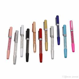 синяя алмазная ручка Скидка Творческий металл Кристалл алмазный шар ручка набор канцелярских принадлежностей заправка 0.5 мм подпись шариковая ручка для 10 шт. заправка синий и черный