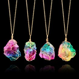 Wholesale Fashion Stone Necklaces - Rainbow Stone Pendant Necklace Fashion Crystal Chakra Rock Necklace Gold Color Chain Quartz Pendant Necklace for Women Gifts