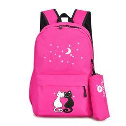 fermetures à glissière sac à dos Promotion Cute Cats School Sac à dos pour les filles avec un sac de stylo