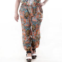 Wholesale Large Chiffon Pants - 2017 Women's Pants Printing Large Size Was Thin Printing Casual Long Pant Harem Chiffon Pants Beach Pants For Women