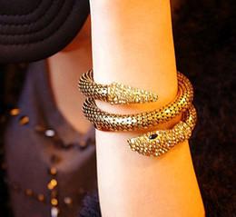 Brazalete de hueso online-Aantique Bronze / Gold City of Bones Isabelle Serpiente serpiente pulsera Curved Chunky Stretch Cuff Bangle para mujer joyería de moda broche de presión