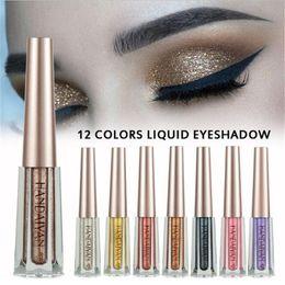 Ombra di liquido online-HANDAIYAN 12 colori Liquid Eyeshadow Glittering Shimmer trucco ombretto liquido metallico ombretto impermeabile spedizione gratuita