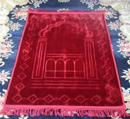 Alfombras musulmanas online-gran espesar franela suave manta de oración MashaAllah viajar islámica musulmán oración manta / alfombra / alfombra Salat Musallah 80 * 125 cm
